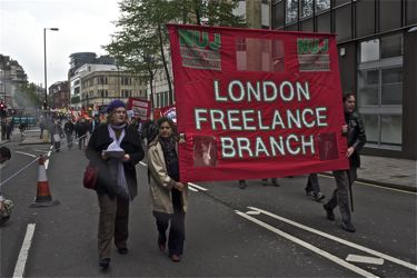 LFB members with the Branch banner